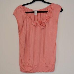H&M Women's Pink Dress Blouse Floral Accent XS